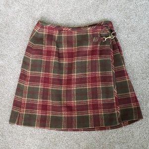 Ann Taylor Loft Plaid Wrap Skirt